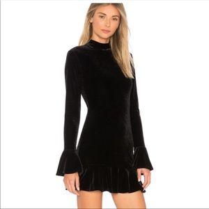 Lovers + Friends Simone Velvet Mini Dress Black M